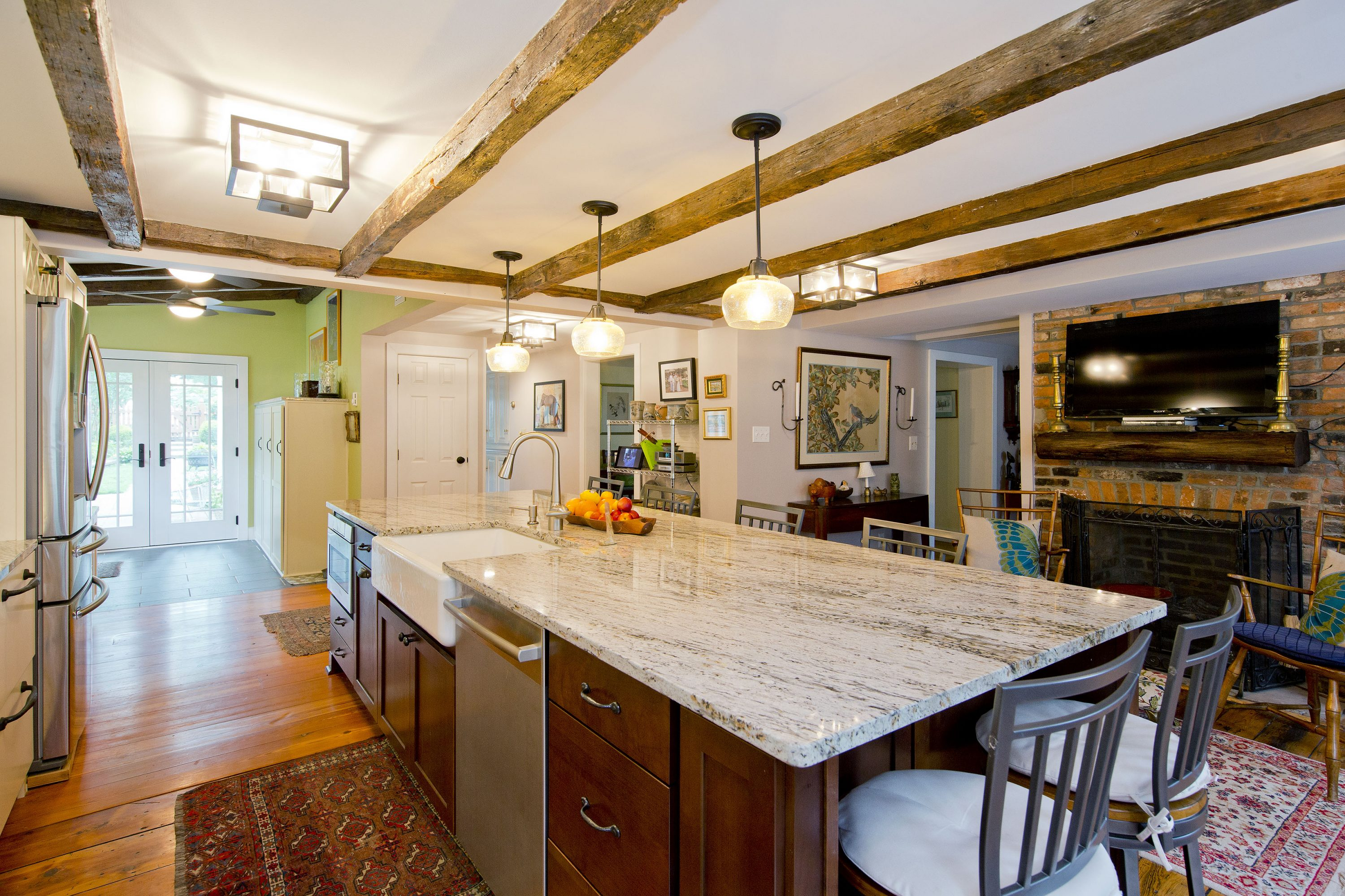 Award Winning Historic Renovation kitchen and fireplace