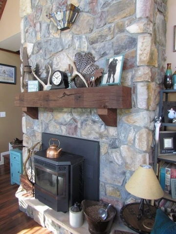 Cedar Siding Custom Home fireplace and mantel