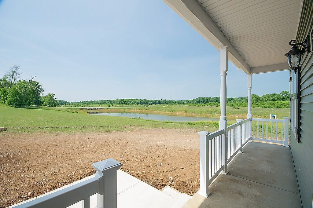 3BD Rancher With Garage deck with pond view