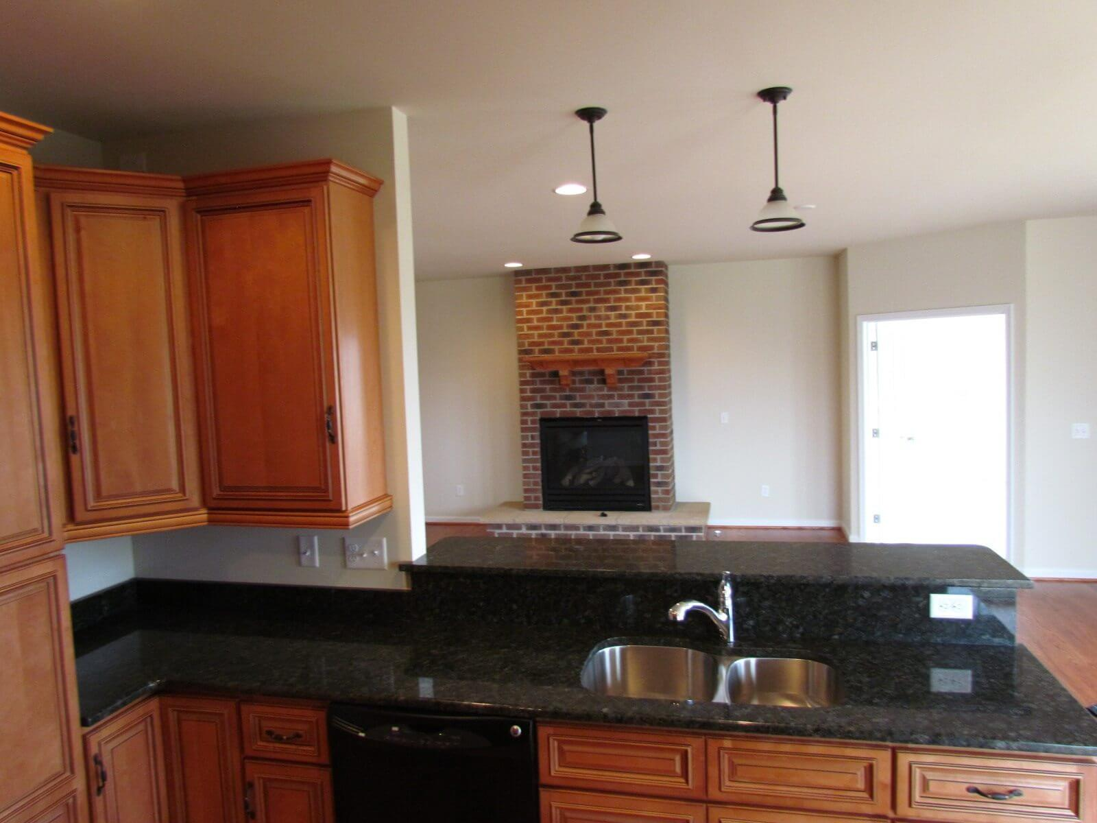 Primrose Custom Home kitchen and fire place