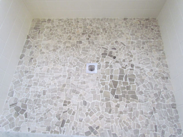 Production Home Upgrade Renovation shower floor